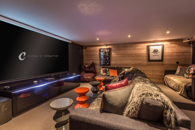 chalet couttet cinema room with screen
