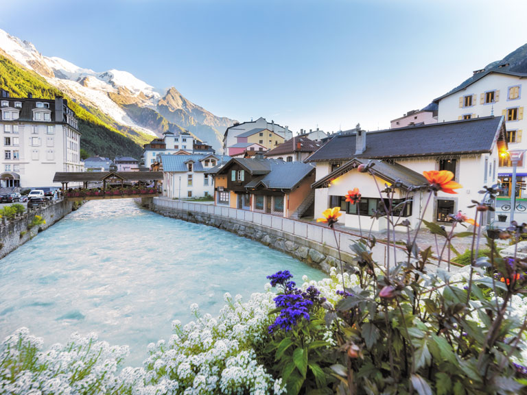 chamonix town and river